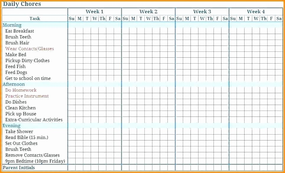 Monthly Chore Chart Template Lovely 11 12 Weekly Chore Calendar Template