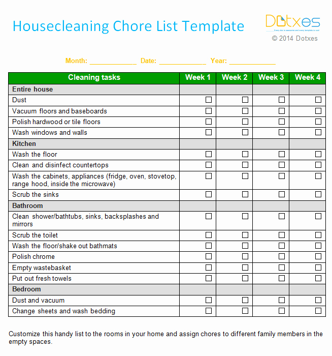 Monthly Chore Chart Template Lovely House Cleaning Chore List Template Weekly Dotxes