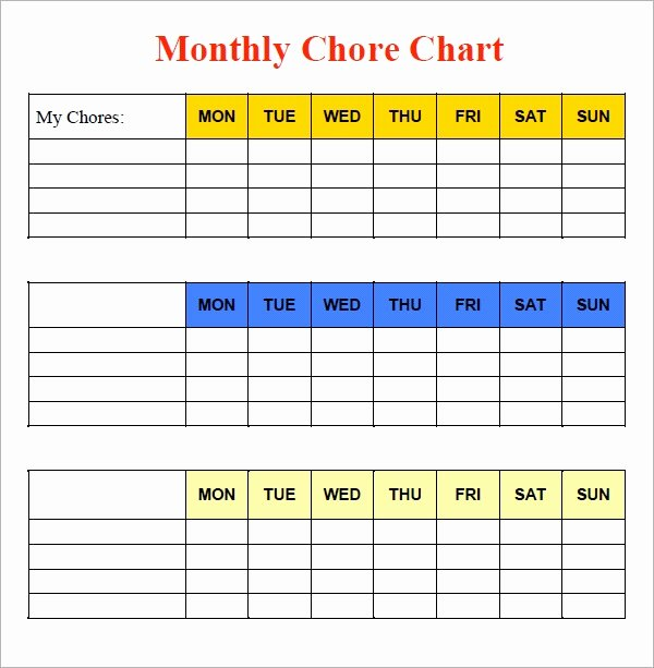Monthly Chore Chart Template Luxury Free 5 Sample Chore Chart Templates In Doc