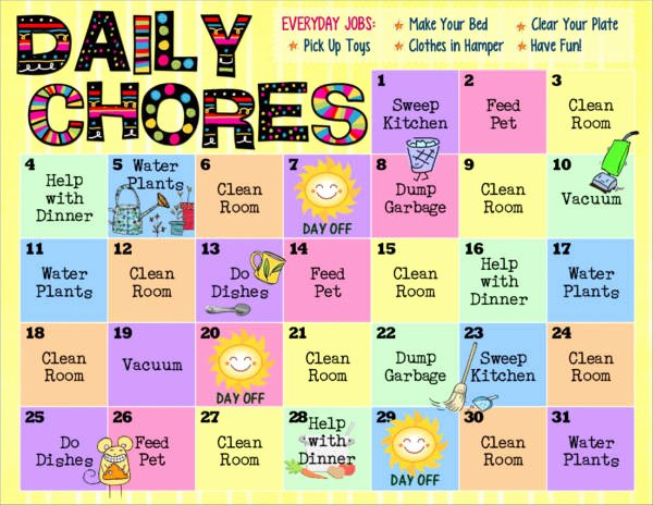 Monthly Chore Chart Template New Free 9 Kid S Chore Schedule Templates In Pdf