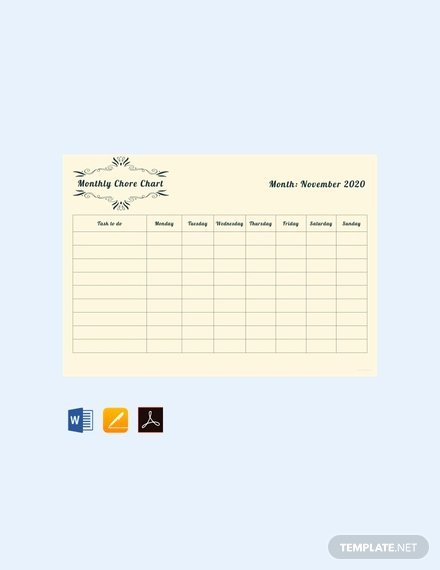 Monthly Chore Chart Template Unique Free Blank Chore Chart Template Download 166 Charts In Word Pdf Apple Pages Excel Numbers
