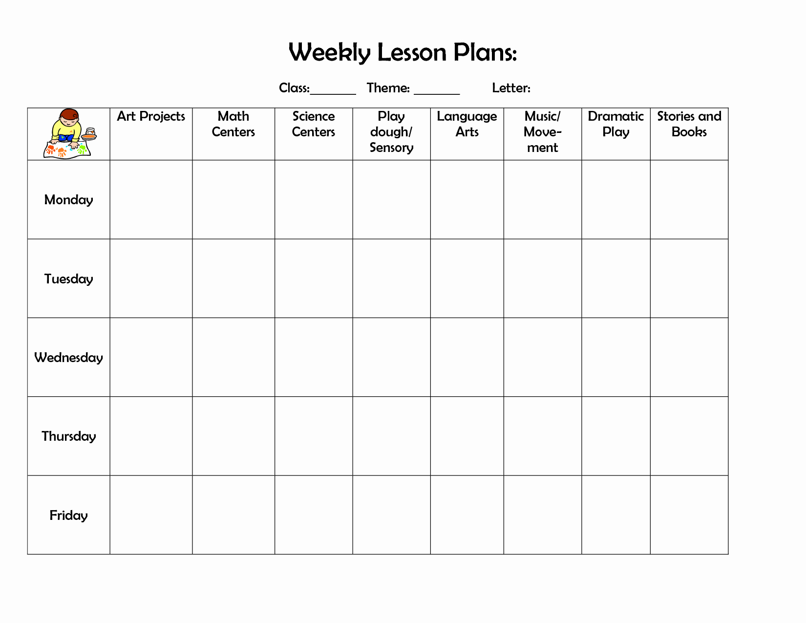 Monthly Lesson Plan Template Elegant Infant Blank Lesson Plan Sheets Weekly Lesson Plan Doc Lesson Plan forms