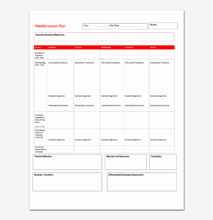 Monthly Lesson Plan Template Unique Lesson Plan Template 5 Daily Weekly Monthly for Word Doc & Pdf