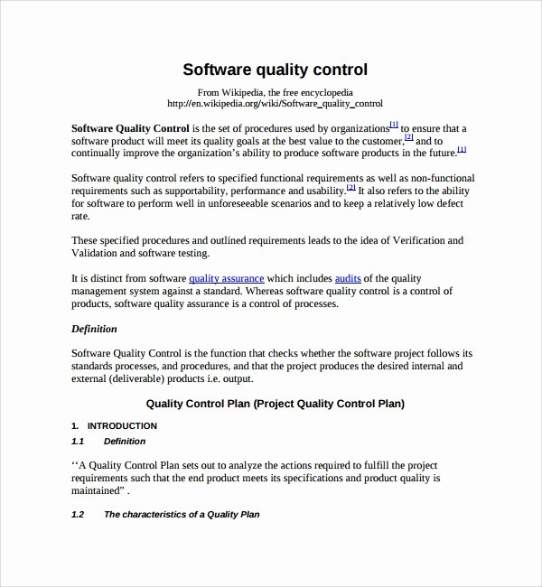 Mortgage Quality Control Plan Template Awesome Sample Quality Control Plan Template 10 Free Documents