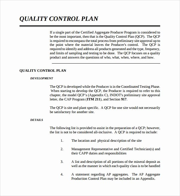 Mortgage Quality Control Plan Template Elegant Sample Quality Control Plan Template 10 Free Documents