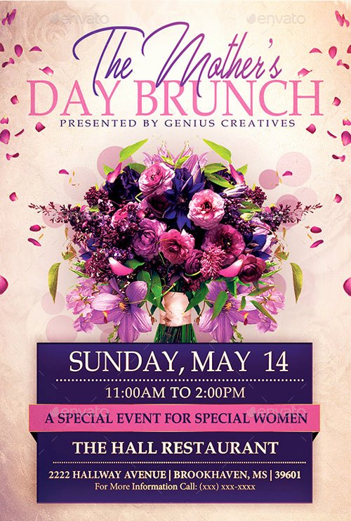 Mother Day Flyer Template Free Beautiful Mothers Day Brunch event Flyer Template for the Perfect Mothers Day
