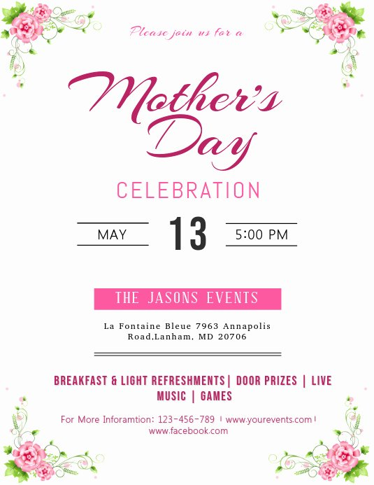 Mother Day Flyer Template Free Fresh Mother S Day Celebration Flyer Template