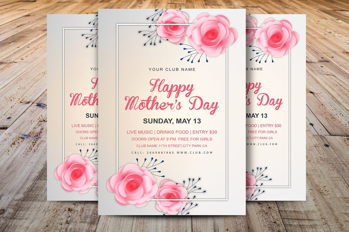 Mother Day Flyer Template Free Luxury Mother S Day Invitation Template Flyer Templates Creative Market