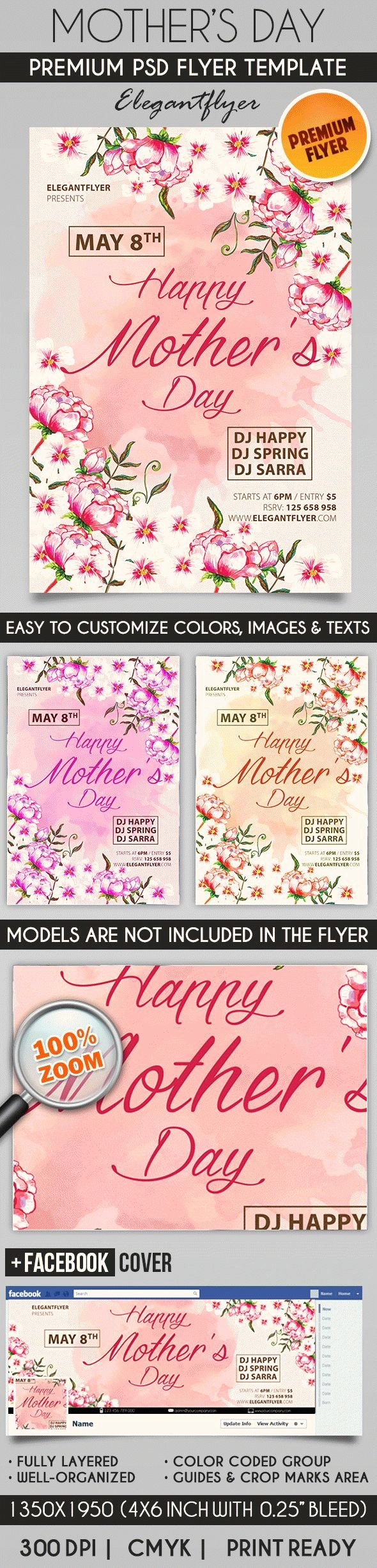Mother Day Flyer Template Free New Flowers for Mothers Day Psd Poster – by Elegantflyer