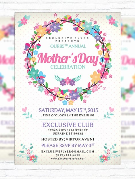 Mother Day Flyer Template Free New Mother's Day – Premium Flyer Template Cover Exclsiveflyer