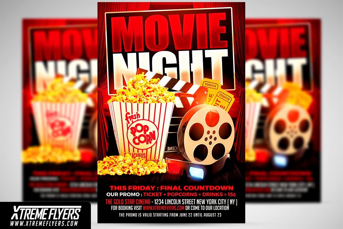 Movie Night Flyer Templates Beautiful Movie Night Flyer Template Flyer Templates Creative Market