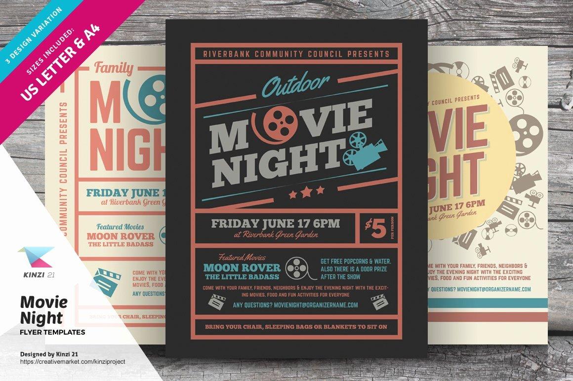 Movie Night Flyer Templates Beautiful Movie Night Flyer Templates Flyer Templates Creative Market
