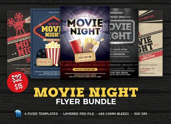 Movie Night Flyer Templates Best Of Movie Night Flyer Template Bundle Flyer Templates Creative Market