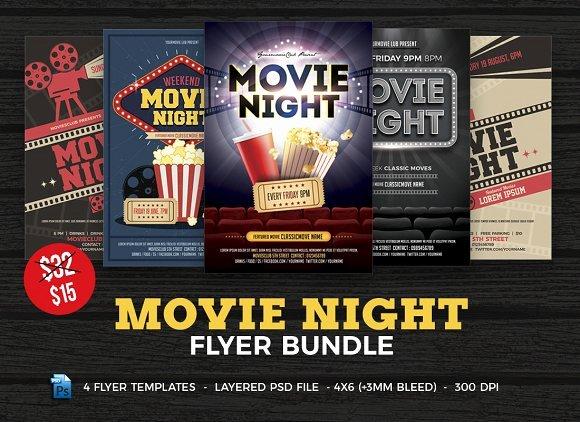 Movie Night Flyer Templates Best Of Movie Night Flyer Template Bundle Flyer Templates Creative Market