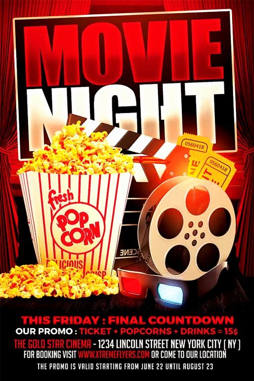 Movie Night Flyer Templates Best Of Movie Night Flyer Template Xtremeflyers