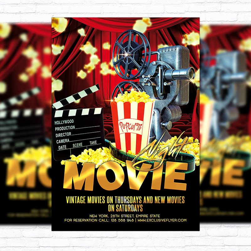 Movie Night Flyer Templates Best Of Movie Night – Premium Flyer Template Cover Exclsiveflyer