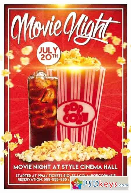 Movie Night Flyer Templates Inspirational Movie Night Psd Flyer Template 2 Cover Free Download Shop Vector Stock Image
