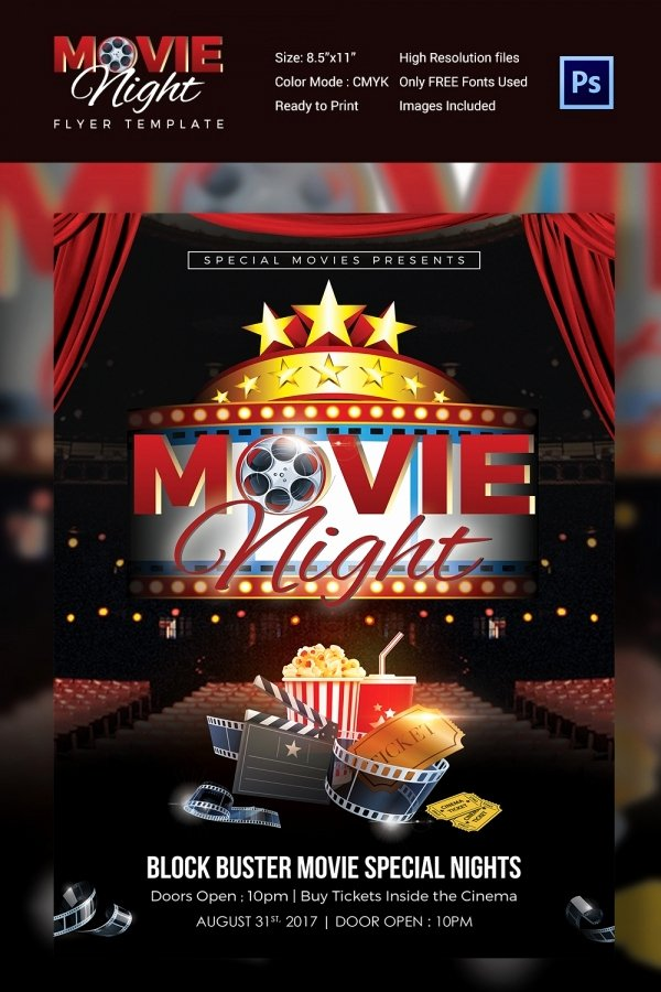 Movie Night Flyer Templates Luxury Movie Night Flyer Template 25 Free Jpg Psd format Download