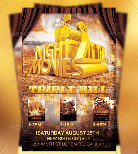 Movie Night Flyer Templates New 20 Movie Night Flyer Templates Ai Psd Word