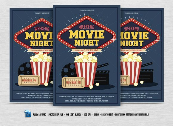 Movie Night Flyer Templates New Movie Night Flyer Flyer Templates Creative Market