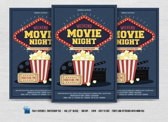 Movie Night Flyer Templates New Movie Night Flyer Flyer Templates Creative Market