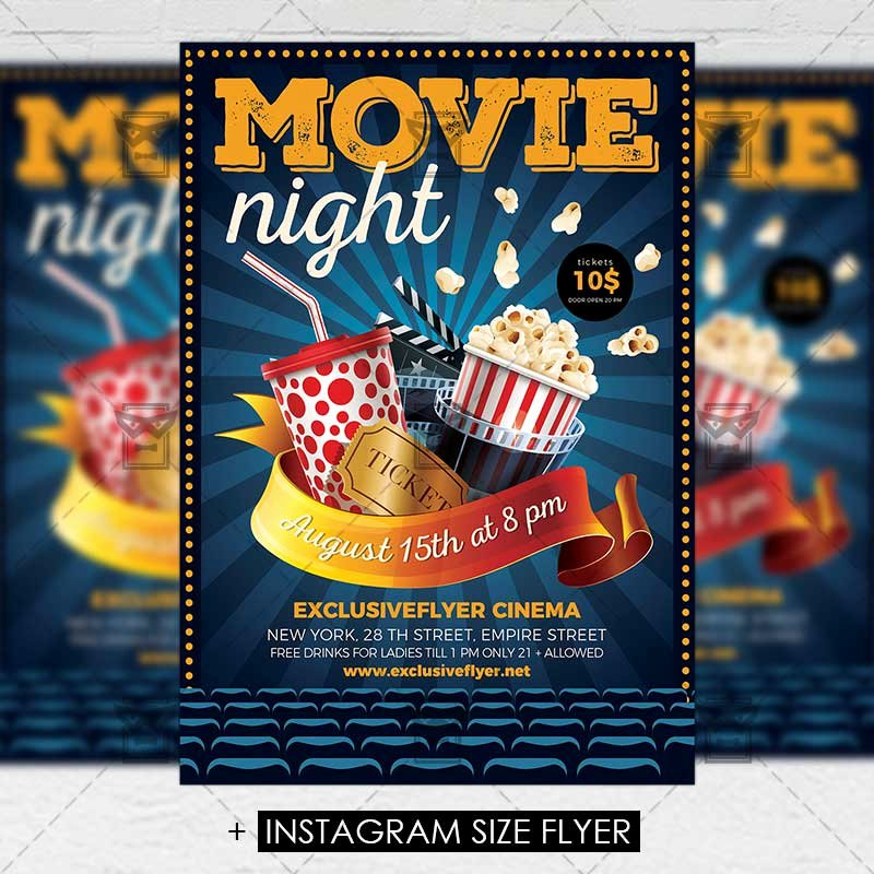 Movie Night Flyer Templates New Movie Night – Premium A5 Flyer Template Exclsiveflyer