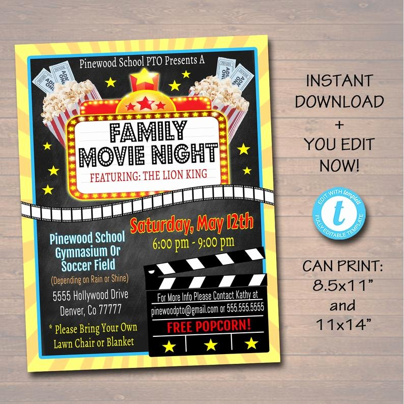 Movie Night Flyer Templates Unique Editable Movie Night Flyer Printable Pta Pto Flyer School