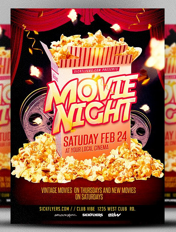 Movie Night Poster Template Awesome Movie Night Flyer Template 20 Free Jpg Psd format Download