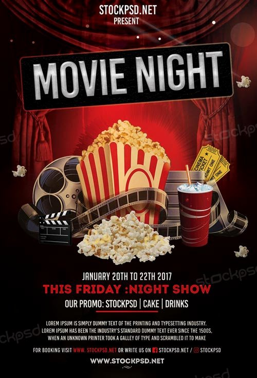 Movie Night Poster Template Awesome Movie Night Free Flyer Template Download Flyer Templates