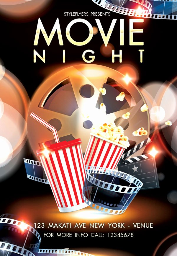 Movie Night Poster Template Best Of Free and Premium Flyers with Style Resources