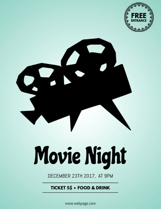 Movie Night Poster Template Elegant Movie Night Flyer Template