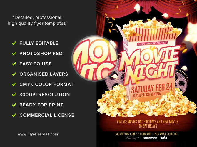 Movie Night Poster Template Fresh Movie Night Flyer Template Flyerheroes