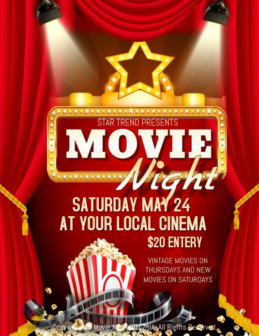 Movie Night Poster Template Inspirational Movie Night Template