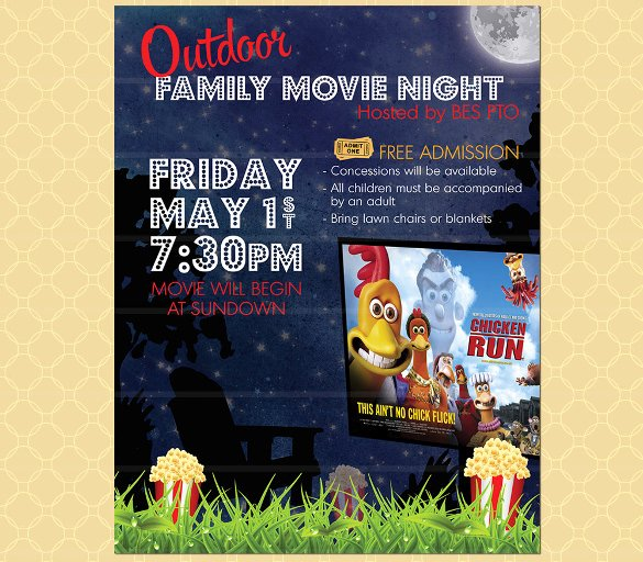 Movie Night Poster Template Lovely 20 Movie Night Flyer Templates Ai Psd Word