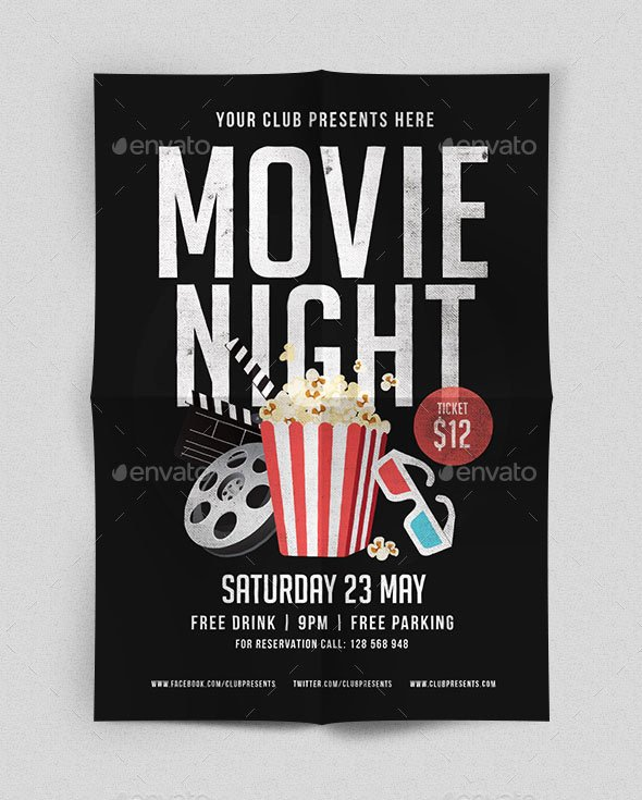 Movie Night Poster Template Lovely 25 Psd Movie Night Flyer Design Templates Shop