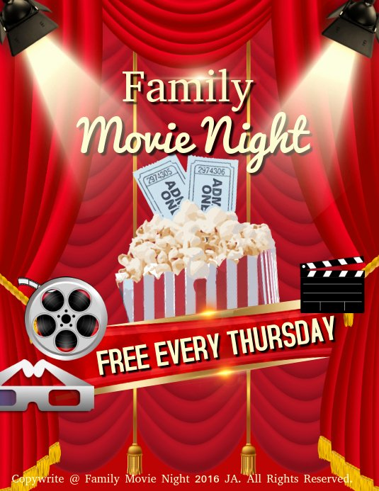 Movie Night Poster Template Lovely Family Movie Night Template