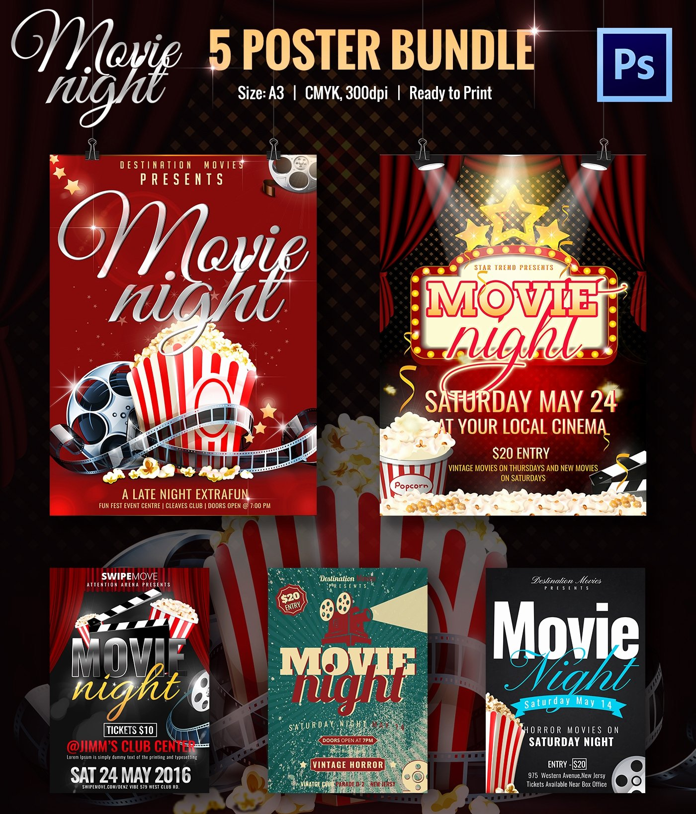 Movie Night Poster Template Lovely Movie Night Flyer Template 25 Free Jpg Psd format Download