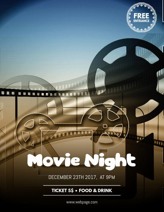Movie Night Poster Template Lovely Movie Night Flyer Template