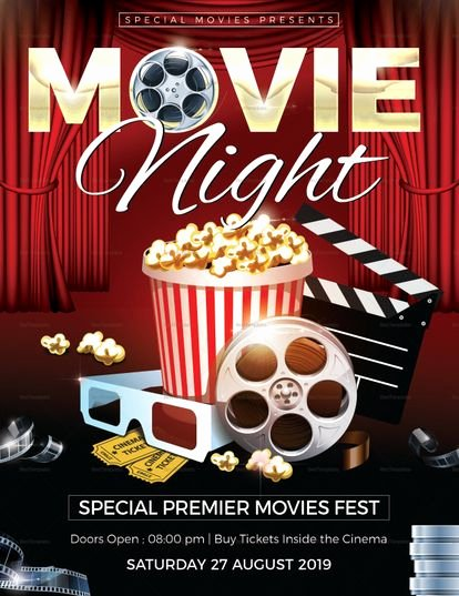 Movie Night Poster Template Luxury Movie Night Flyer Template Design Flyer Templates