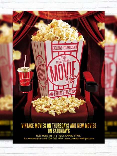 Movie Night Poster Template Luxury Movie Night – Premium Psd Flyer Template Exclsiveflyer