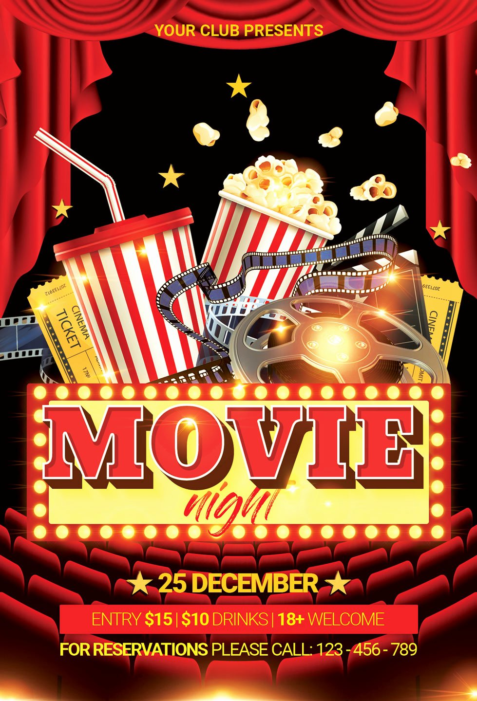 Movie Night Poster Template New Movie Night Flyer