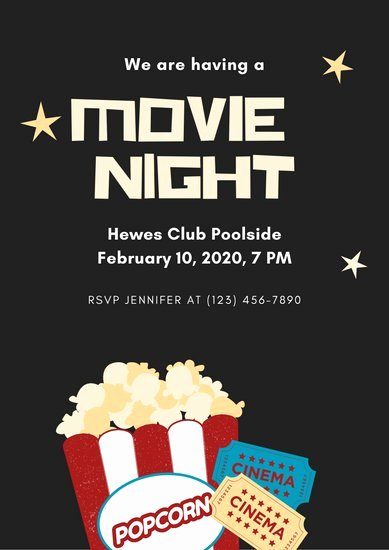 Movie Night Poster Template Unique Customize 230 Movie Night Invitation Templates Online Canva