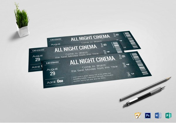 Movie Ticket Template for Word Awesome 34 Movie Ticket Templates Psd Ai Word