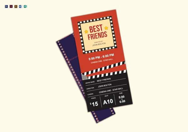 Movie Ticket Template for Word Awesome Free 46 Printable Ticket Templates In Illustrator Indesign Ms Word Pages
