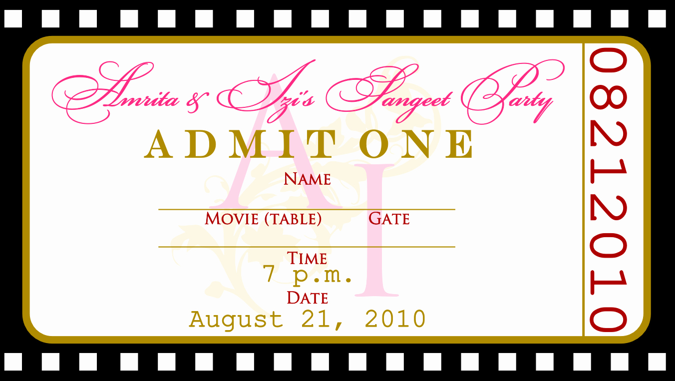 Movie Ticket Template for Word Best Of Free Templates for Birthday Invitations