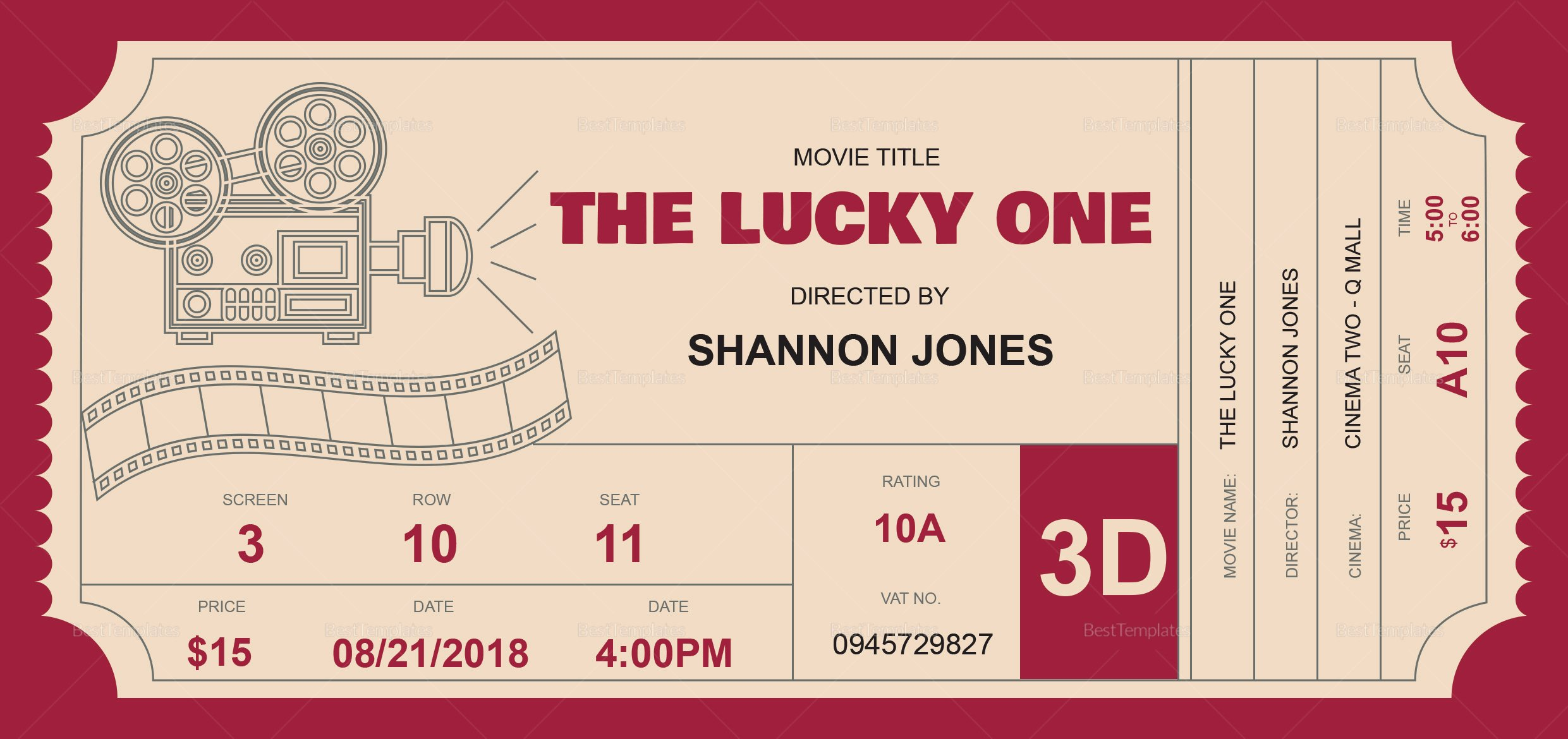Movie Ticket Template for Word New 40 Ticket Templates Download