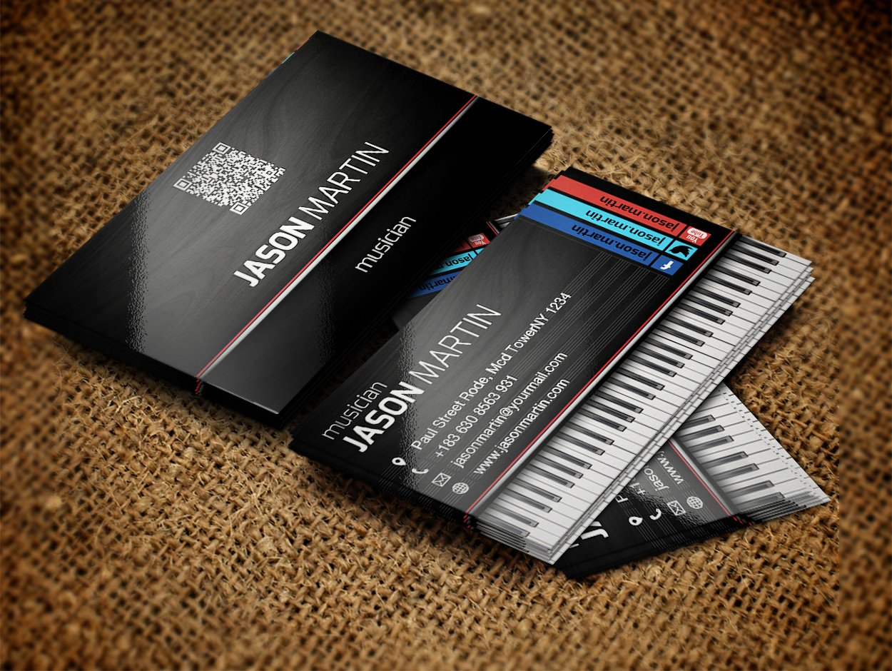 Music Business Card Template Beautiful Free Musician Business Cards