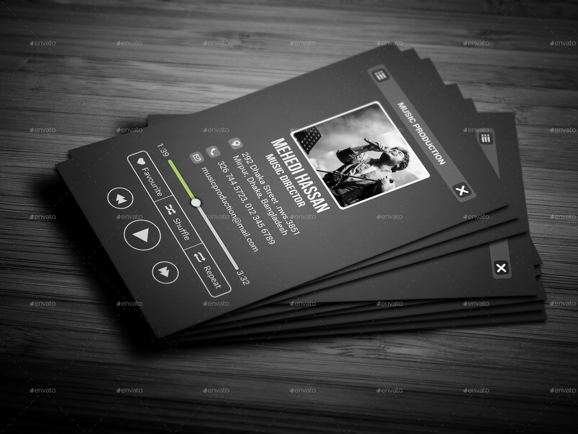 Music Business Card Template Unique Music Business Card by Mehedi Hassan