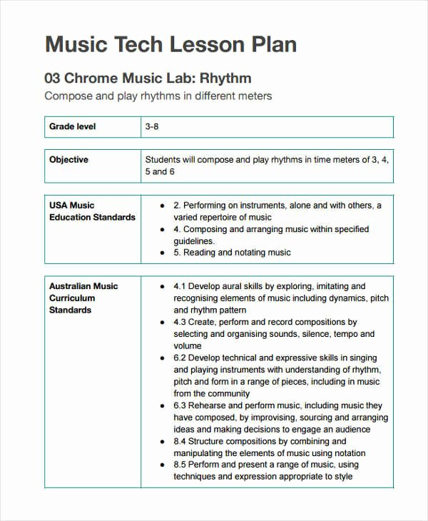 Music Lesson Plan Template Elegant 12 Lesson Plan formats