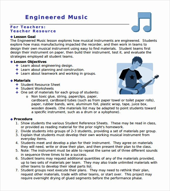 Music Lesson Plan Template Elegant Sample Music Lesson Plan Template 9 Free Documents In Pdf Word